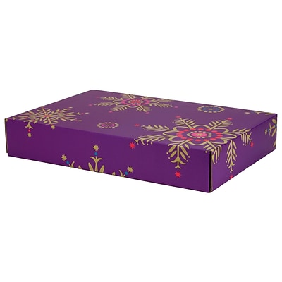12.2(L)x 3(W)x17.8(H) GPP Gift Shipping Box, Holiday Line, Purple Snowflakes, 6/Pack