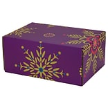 6.2(L)X 3.7(W)X9.5(H) GPP Gift Shipping Box, Holiday Line, Purple Snowflakes, 12/Pack