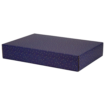 12.2(L)x 3(W)x17.8(H) GPP Gift Shipping Box, Holiday Line, Gold Stars on Blue, 12/Pack