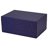 6.2(L)X 3.7(W)X9.5(H) GPP Gift Shipping Box, Holiday Line, Gold Stars on Blue, 6/Pack