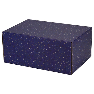8.8(L)X 5.5(W)X12.2(H) GPP Gift Shipping Box, Holiday Line, Gold Stars on Blue, 6/Pack