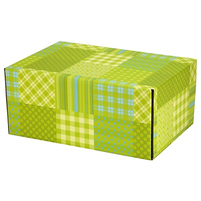 8.8(L)X 5.5(W)X12.2(H) GPP Gift Shipping Box, Lisa Line, Patchwork Green, 12/Pack