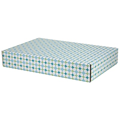 12.2(L)x 3(W)x17.8(H) GPP Gift Shipping Box, Lisa Line, Teal Grid, 6/Pack