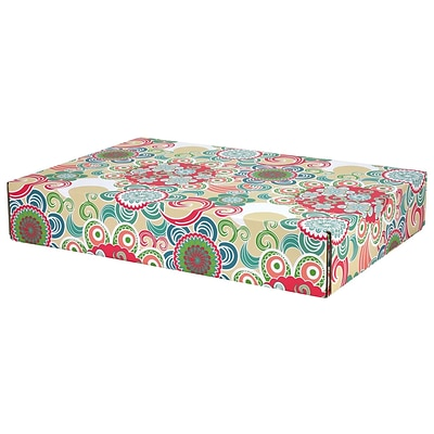 12.2(L)x 3(W)x17.8(H) GPP Gift Shipping Box, Lisa Line, Floral Fun, 24/Pack
