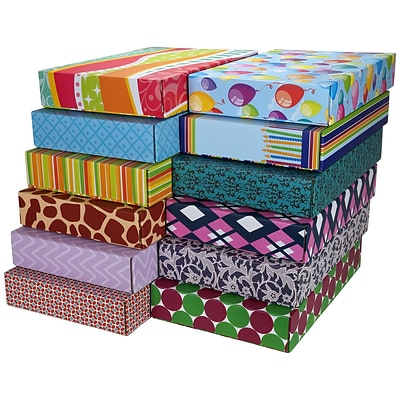 12.2(L)x 3(W)x17.8(H) GPP Gift Shipping Box, Classic Line, Assorted Styles, 48/Pack