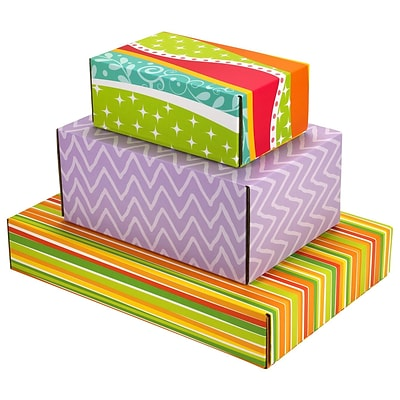 Assorted Size GPP Gift Shipping Box, Classic Line, Assorted Styles, 12/Pack