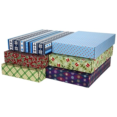 12.2(L)x 3(W)x17.8(H) GPP Gift Shipping Box, Holiday Line, Assorted Styles, 6/Pack