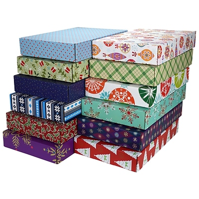 12.2(L)x 3(W)x17.8(H) GPP Gift Shipping Box, Holiday Line, Assorted Styles, 48/Pack