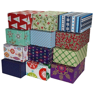 8.8(L)X 5.5(W)X12.2(H) GPP Gift Shipping Box, Holiday Line, Assorted Styles, 12/Pack