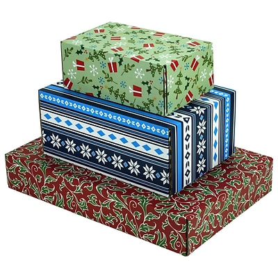 Assorted Size GPP Gift Shipping Box, Holiday Line, Assorted Styles, 12/Pack