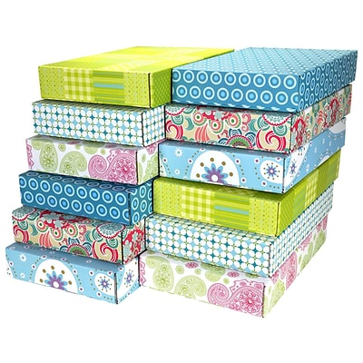 12.2(L)x 3(W)x17.8(H) GPP Gift Shipping Box, Lisa Line, Assorted Styles, 48/Pack