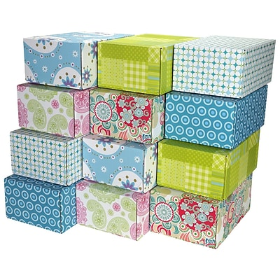 6.2(L)X 3.7(W)X9.5(H) GPP Gift Shipping Box, Lisa Line, Assorted Styles, 24/Pack