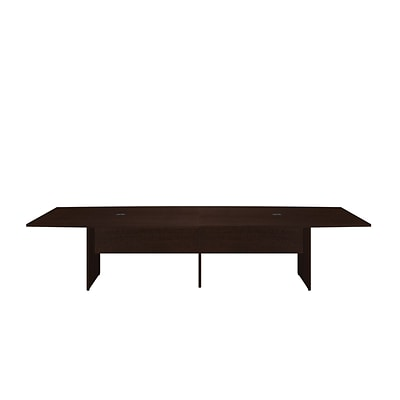 Bush Business 120L x 48W Boat Top Conference Table with Wood Base, Mocha Cherry, Installed