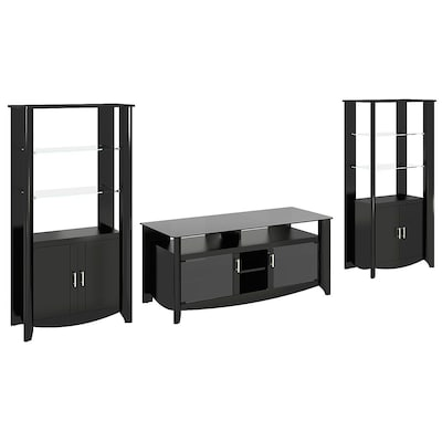 Bush Furniture Aero 56 Inch Tv Stand And 2 Door Tall Library Storage, Classic Black
