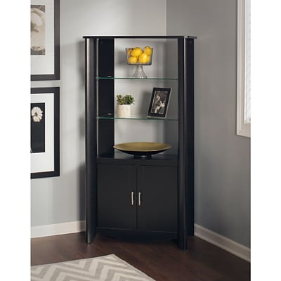 Bush Furniture Aero Writing Desk and 2-Door Tall Library Storage, Classic Black