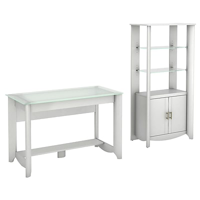 Bush Furniture Aero Writing Desk and 2-Door Tall Library Storage, Pure White