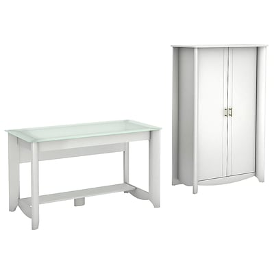 Bush Furniture Aero Writing Desk and 2-Door Tall Storage, Pure White