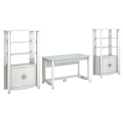 Bush Furniture Aero Writing Desk and (2) 2-Door Tall Library Storage, Pure White