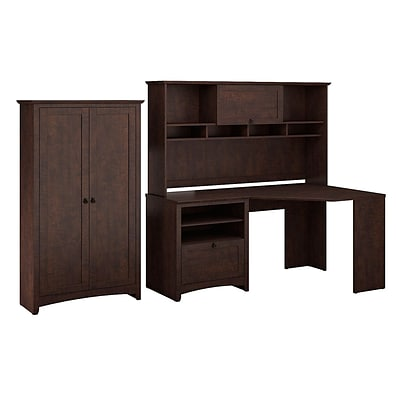 Bush Furniture Buena Vista Corner Desk with 60W Hutch & 2-Door Tall Storage, Madison Cherry