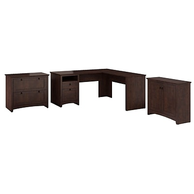 Bush Furniture Buena Vista L-Desk with 2-Door Low Storage & 2-Drawer Lateral File, Madison Cherry