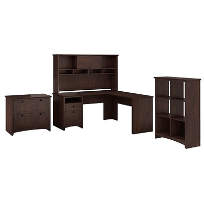 Bush Furniture Buena Vista L-Desk w/ 60W Hutch, 6-Cube Storage & 2-Dwr Lateral File, Madison Cherry
