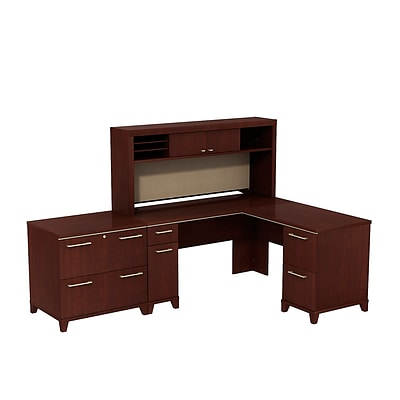 Bush Business Enterprise 60W x 60D L-Desk with Hutch and Lateral File, Harvest Cherry, Installed