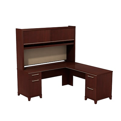 Bush Business Enterprise 72W x 72D L-Desk with Hutch, Harvest Cherry, Installed