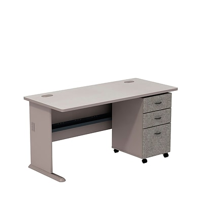 Bush Business Cubix 60W Desk with 3-Drawer Mobile Pedestal, Pewter/White Spectrum, Installed