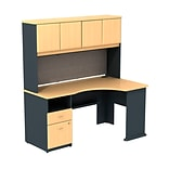 Bush Business Cubix 60W Single Pedestal Corner Desk with Hutch, Euro Beech/Slate, Installed