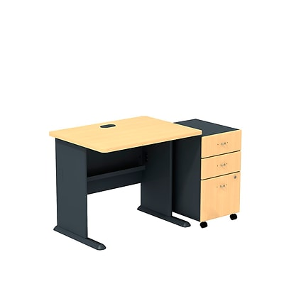 Bush Business Cubix 36W Desk with 3-Drawer Mobile Pedestal, Euro Beech/Slate, Installed