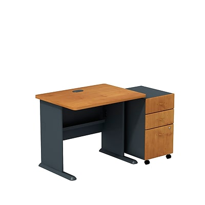 Bush Business Cubix 36W Desk with 3-Drawer Mobile Pedestal, Natural Cherry/Slate, Installed