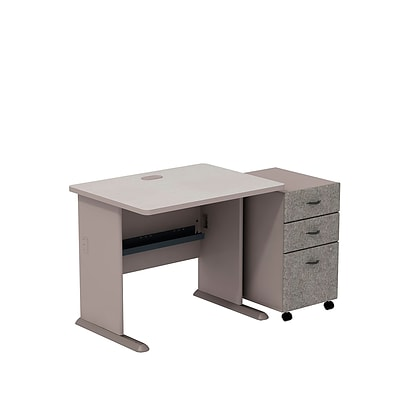 Bush Business Cubix 36W Desk with 3-Drawer Mobile Pedestal, Pewter/White Spectrum, Installed