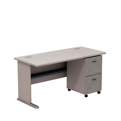 Bush Business Cubix 60W Desk with 2-Drawer Mobile Pedestal, Pewter/White Spectrum, Installed