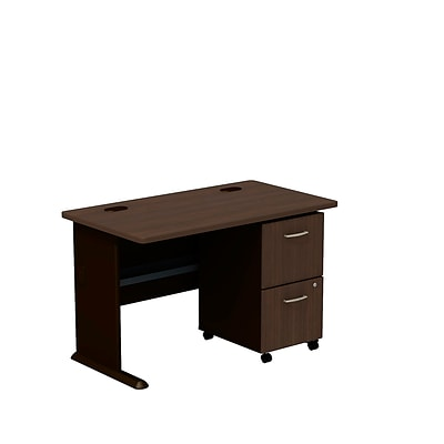 Bush Business Cubix 48W Desk w/ 2-Dwr Mobile Pedestal, Cappuccino Cherry/Hazelnut Brown, Installed