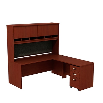 Bush Business Westfield 72W L-Desk w/4-Door Hutch & 3-Dwr Mobile Pedestal, Chry Mahogany, Installed