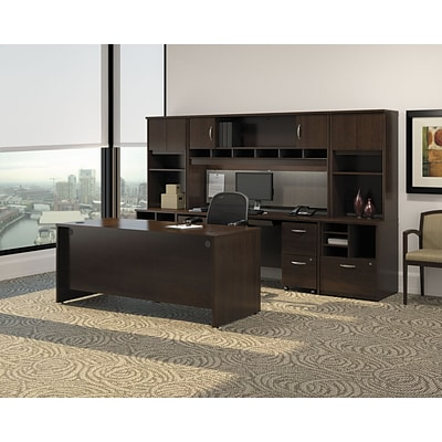 Bush Business Westfield 66W Shell Desk with 2-Drawer Mobile Pedestal, Mocha Cherry, Installed