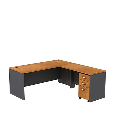 Bush Business Westfield 72W L- Desk w/3-Dwr Mobile Pedestal, Natural Cherry/Graphite Gray, Installed
