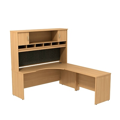 Bush Business Westfield 72W RH Corner L-Desk with 72W 2-Door Hutch, Danish Oak, Installed