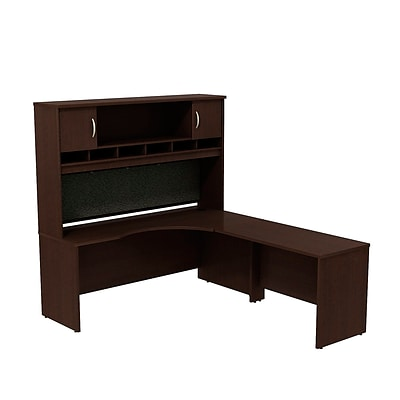 Bush Business Westfield 72W RH Corner L-Desk with 72W 2-Door Hutch, Mocha Cherry, Installed