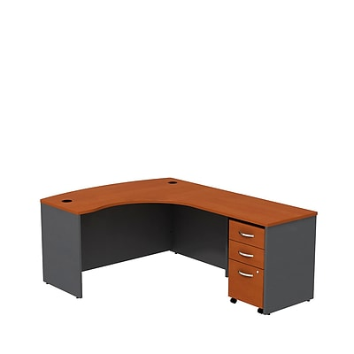 Bush Westfield 60W RH L-Bow Desk Shell w/3-Dwr Mobile Pedestal, Autumn Chry/Graphite Gray, Installed