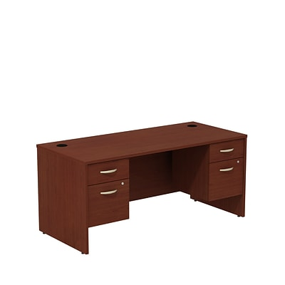 Bush Business Westfield 66W Shell Desk with (2) 3/4 Pedestals, Cherry Mahogany, Installed