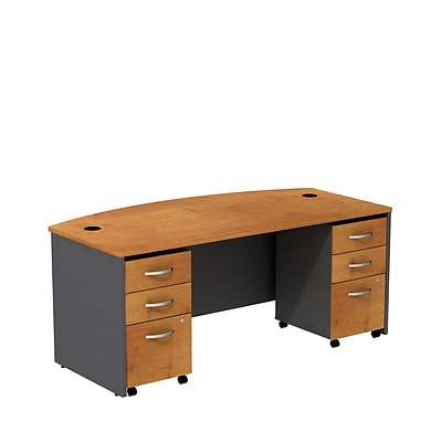Bush Westfield 72W BowFrnt Shell Desk w/(2) 3-Dwr Mobile Pedestal, Nat Chry/Graphite Gray, Installed