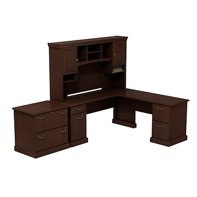 Bush Business Syndicate 72W x 72D L-Desk with Hutch and Lateral File, Mocha Cherry, Installed