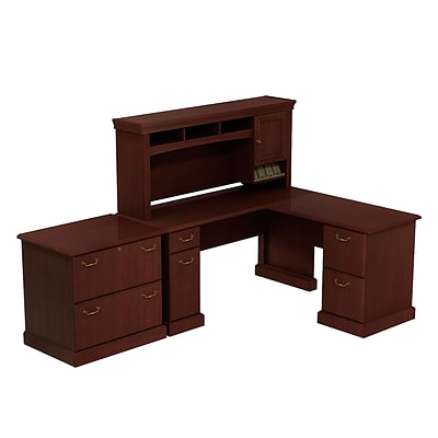 Bush Business Syndicate 60W x 60D L-Desk with Hutch and Lateral File, Harvest Cherry, Installed