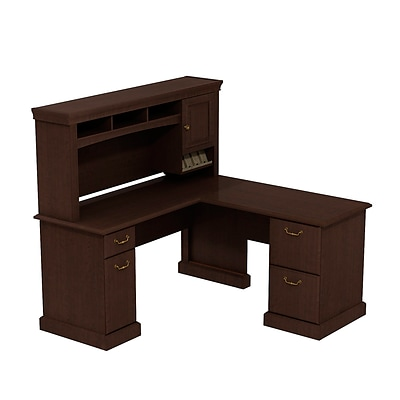 Bush Business Syndicate 60W x 60D L-Desk with Hutch, Mocha Cherry, Installed