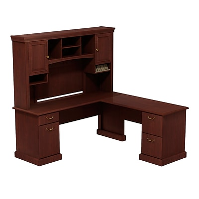 Bush Business Syndicate 72W x 72D L-Desk with Hutch, Harvest Cherry, Installed