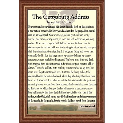Diamond Decor Abraham Lincoln Gettysburg Address Framed Print Art With Oak Style