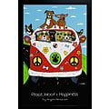 Diamond Decor Peace Woof & Happines ! VW Bus with various Dogs Framed Poster