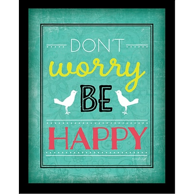 Diamond Decor Dont Worry Be Happy  Framed Art Print Poster