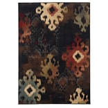 Abstract Ikat Black/ Brown Indoor Machine-made Polypropylene Area Rug (78 X 1010)